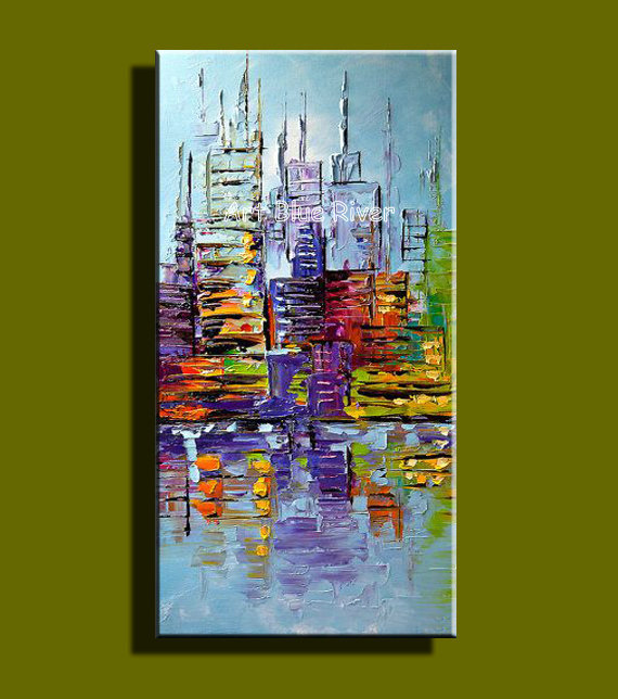 New York City Picture Canvas Painting Modern Wall Art: Abstract Modern Large Canvas Wall Art Handpainted Colorful