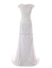 European Design One Piece Floor Length Backless White Lace wedding dress with Cap Sleeve