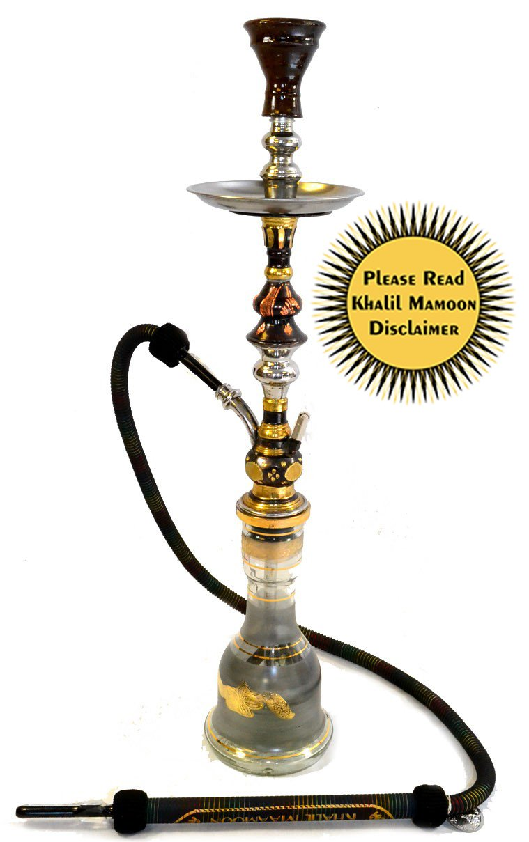 """KHALIL MAMOON EMPEROR OXIDIZED TRI-METAL 31"""" COMPLETE HOOKAH SET: Single Hose shisha pipe. Handmade Egyptian Narguile Pipes. These are Traditional Heavy Tri-Metal Hookahs."""