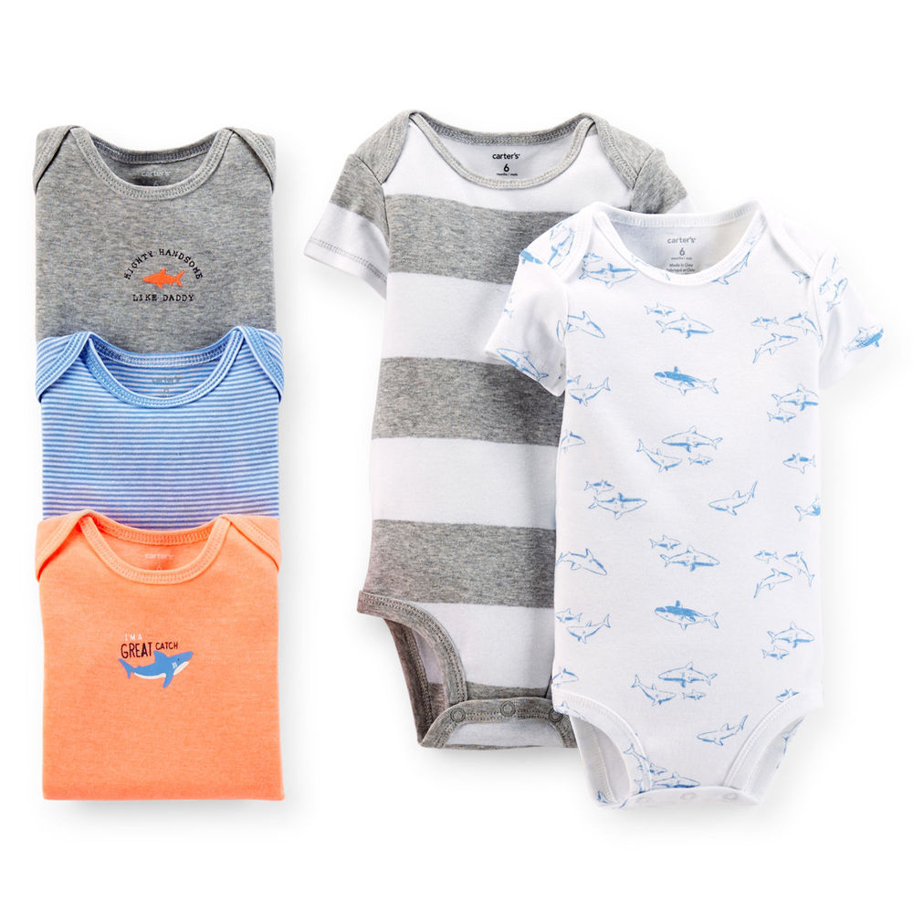 093b999cd Get Quotations · 5pcs/ Pack ,2015 New Original Carters Baby Boys Short  Sleeves Bodysuit, Carters Baby