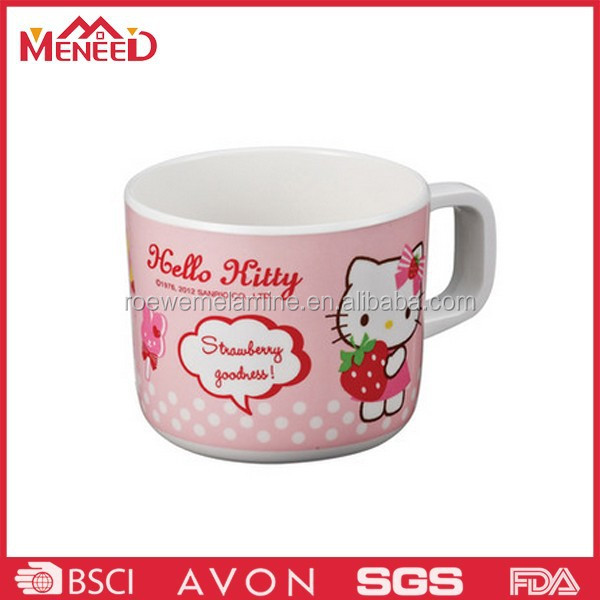Lovely cat and strawberry print hot products plastic melamne children cup