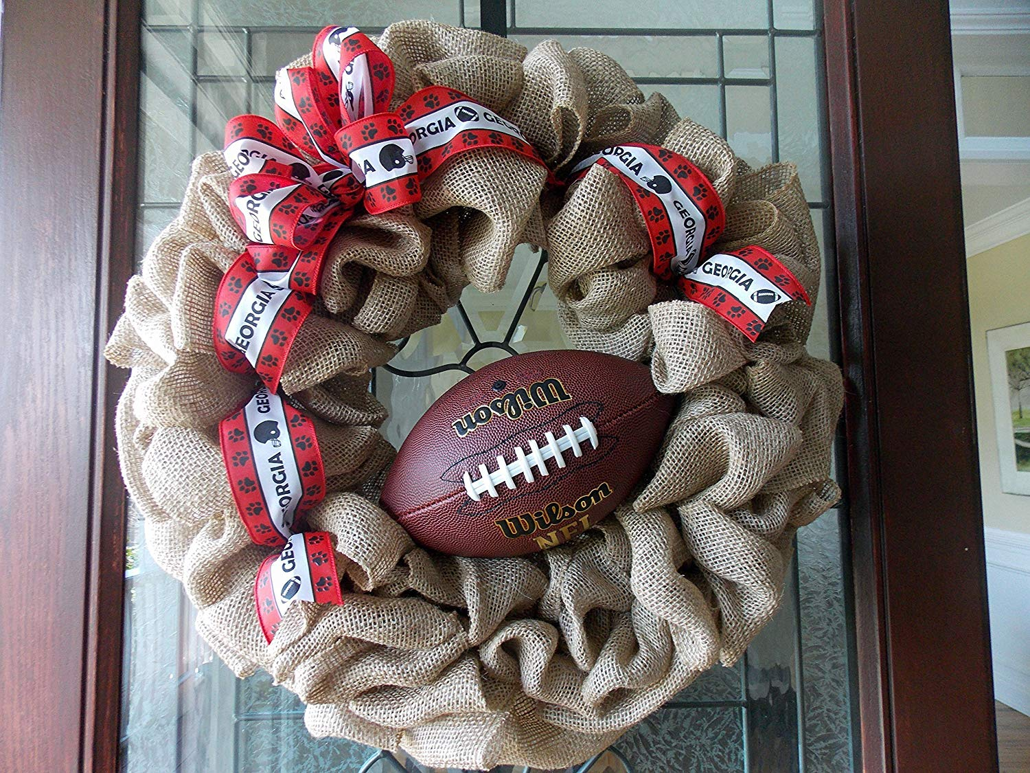 UGA Football Wreath-UGA Wreath-Bulldog Wreath-Football Wreath-Fall Football Wreath-Fall Wreaths for Front Door-Fall Burlap Wreath-Football