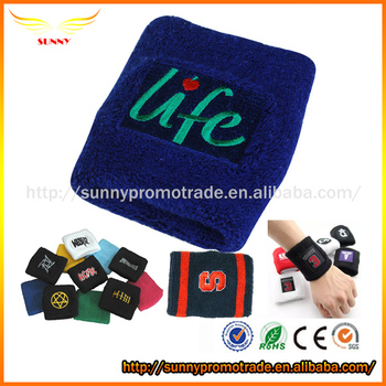 Custom Cotton Sport Wristband Wrist Sweatband with Embroidery Logo