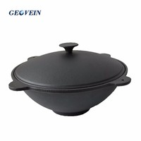 Pre-seasoned New Type 15L Asian Cast Iron Kazan Pot for Camping