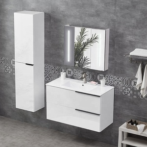 High gloss white wall mounted vanity bathroom cabinet for Europe