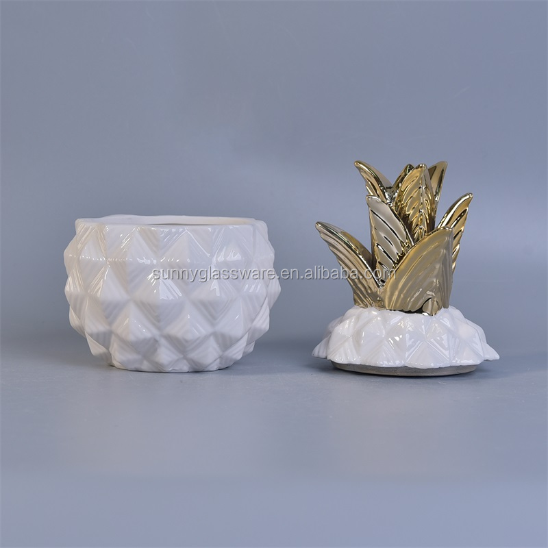 ceramic candle jar for candle making, pineappel shape ceramic jar white color