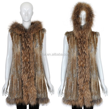 YR628 Super Quality Women Hooded Genuine Raccoon and Rabbit Fur Vest