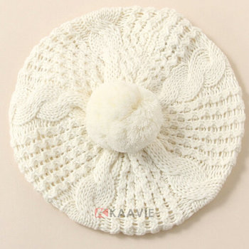 Custom girls ladies womens winter fashion plain white cotton knitted beret  with ball top 3b1a546498e