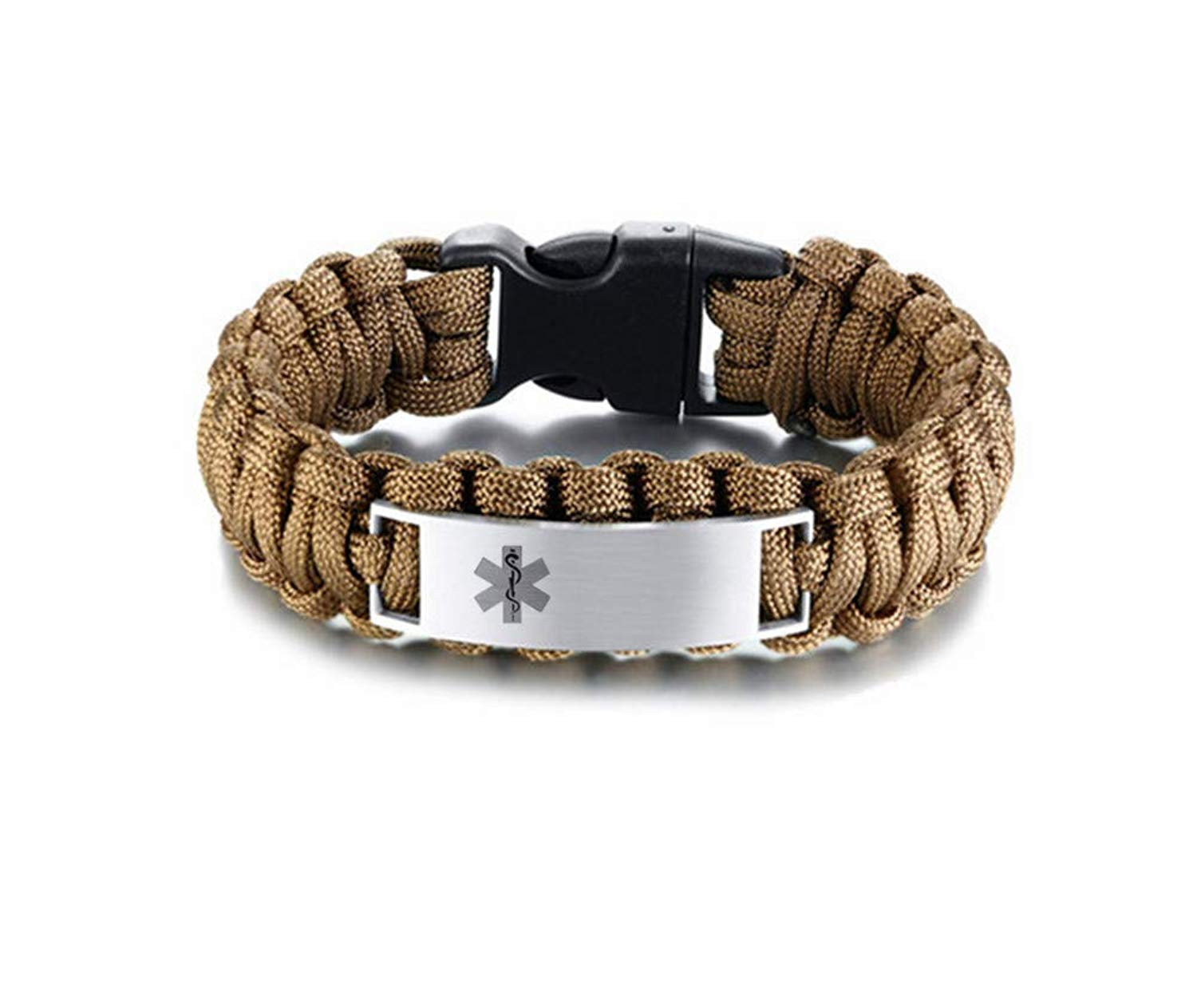 LF Stainless Steel Personalized ICE Medical Alert Outdoor Rope Paracord Survival Medic ID Bracelet Sos Emergency Cuff Bracelets for Adult Hiking Camping Hunting Activities,Free Engraving Customized