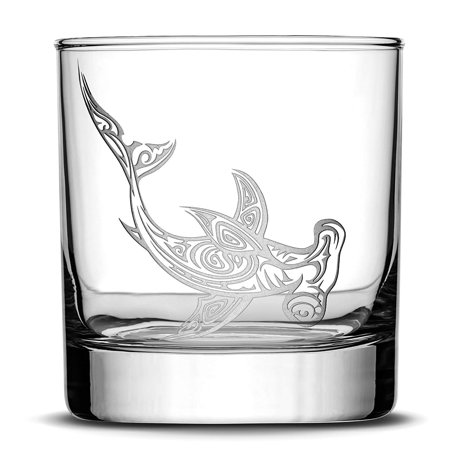 Premium Hammerhead Shark Whiskey Glass, Hand Etched Tribal Design, 10oz Rocks Glass, Highball Gifts, Made in USA, Sand Carved by Integrity Bottles