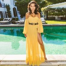 6e662ed2bd Joyfunear Off Shoulder Yellow Chiffon Beach Maxi Dress Summer 2018 New  Bodycon Party Dress Women Elegant