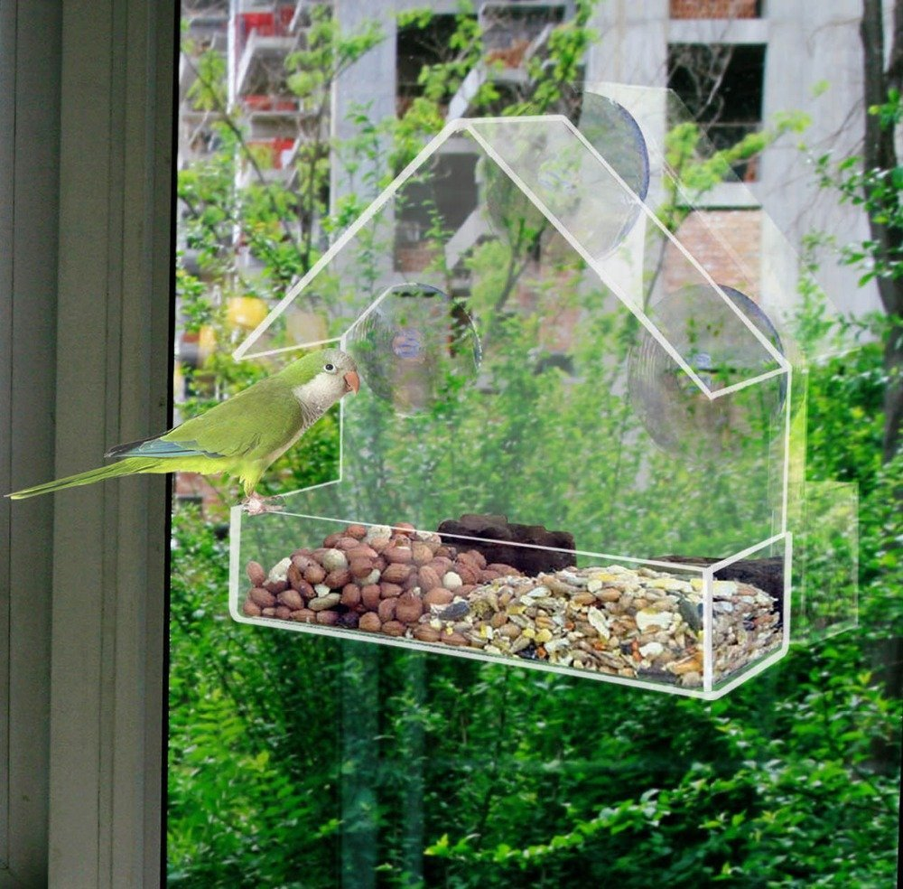 Window Bird Feeder With Strong Suction Cups, Acrylic Birdhouse Is Clear And See  Through,