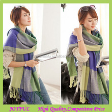Various color plain blanket scarf with tassel