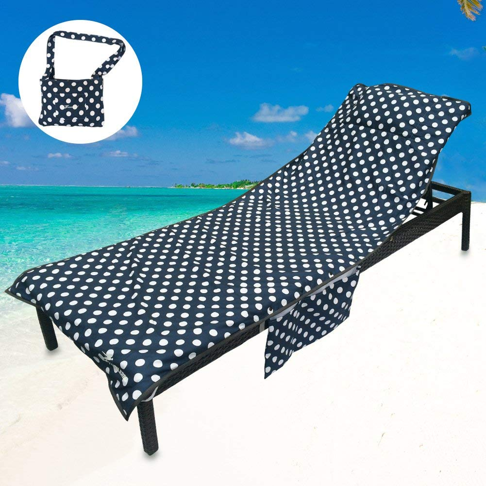 Portable Super Soft Microfiber Beach Chair Cover Folding Pocket Beach Towel Polyester Chaise Lounger Cover Home