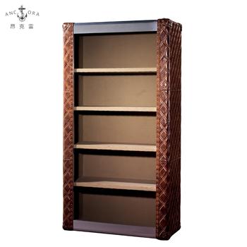 Antique Home Furniture Office Leather Bookshelf Cabinet L815