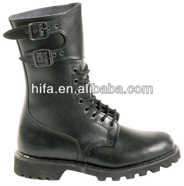 Army Boots French Style Ranger Boots Black Genuine Leather ...