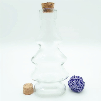 140ml Empty clear glass bottles small fancy liquor bottle with wooden cork