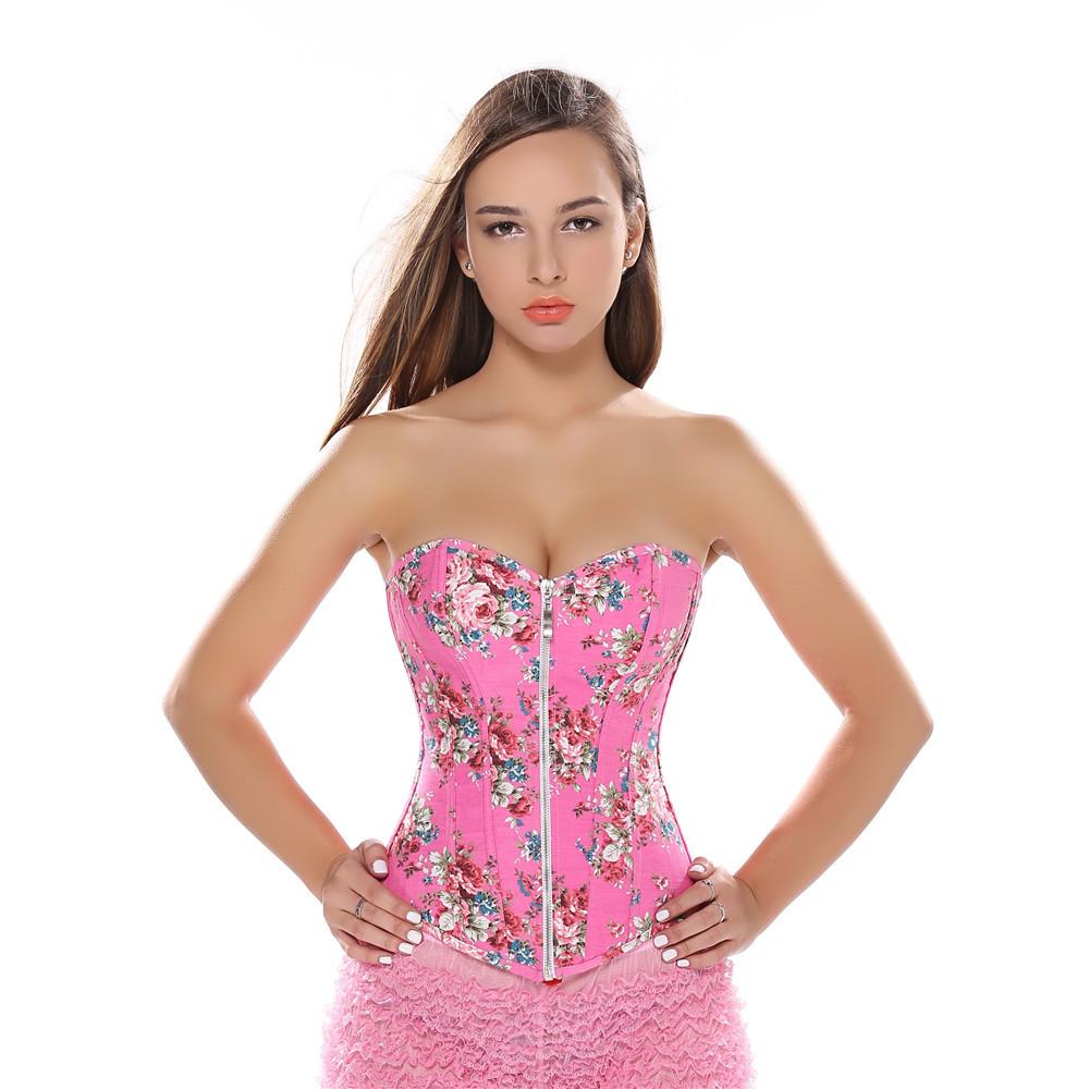 6ba293a510 2019 Pink Floral SEXY Corset Jeans Print Jacquard Zipper Lingerie ...