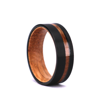 WHISKEY barrel Wood ring Black Tungsten ring wood ring lined with barrel original gift mens wedding band whisky