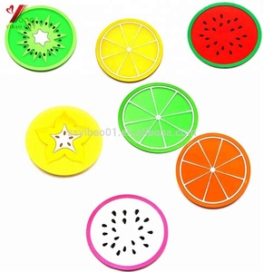 Fruit Design Cup Mat Table Placemat Silicone Rubber Coasters, Custom 2D soft pvc rubber customized coasters Fruit Design Cup Mat