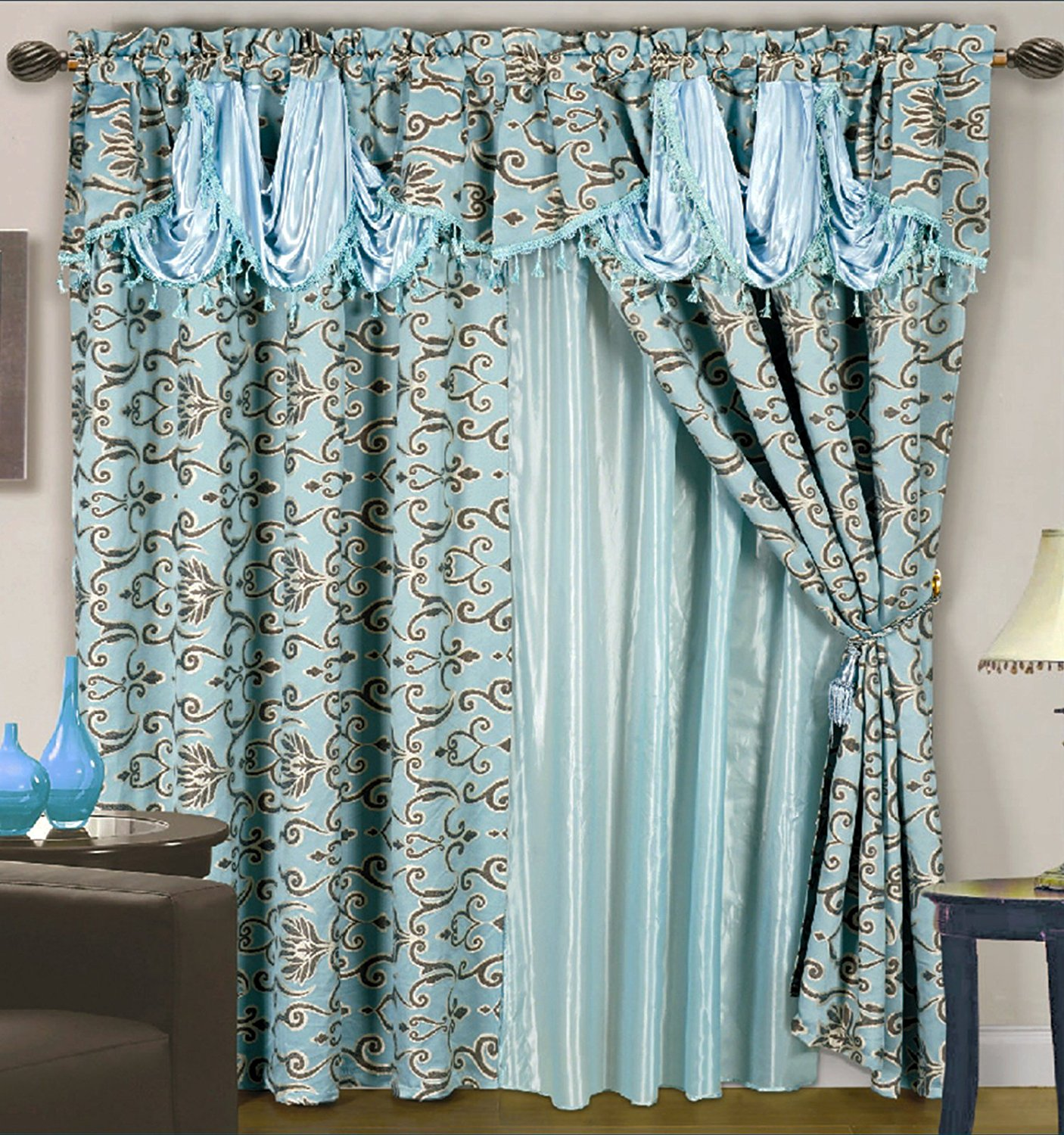 Get Quotations 4 Pc Luxurious Satin Jacquard Damask Curtain Set Waterfall Valance Blue Teal