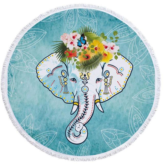 29 ISAAC ENGLAND Elefante Indio Estera de Yoga Toalla de Playa Redonda Grande Muchacha Adulta Borla Mandala Verano Toalla de ba/ño Impresi/ón Microfibra 150 cm