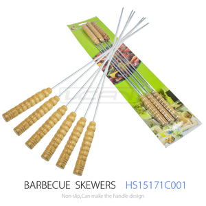 6PCS Flat Blade Designed Stainless Steel BBQ Kebab Skewers