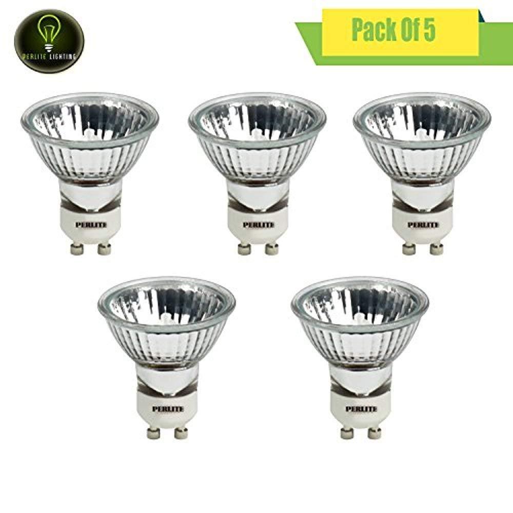 Perlite Lighting (Pack of 5) 35MR16FMW/GU10/120V 35-Watt GU10 Base Flood 120-Volt Halogen Light Bulb