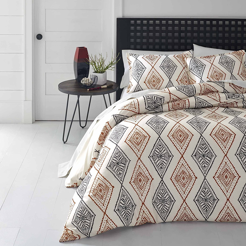 acaa0acf4d0f Get Quotations · 4 Piece Burnt Orange Grey Off White Aztec Southwest theme  Comforter Twin Set