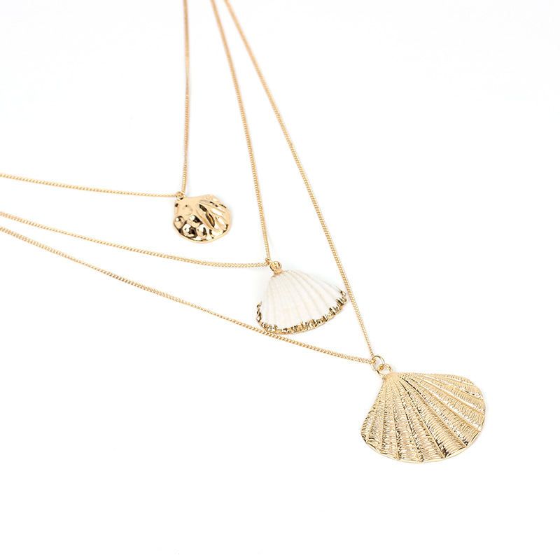 The latest popular bohemian natural shell gold pendant multi-layer female necklace