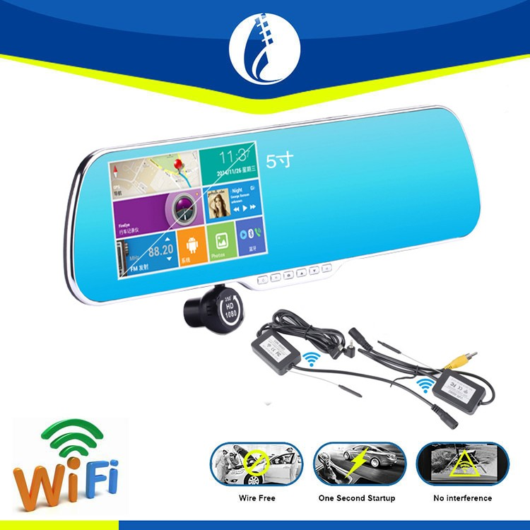 Large 5 Inch Display Screen Dual lens Car Full HD 1080P Rear View Mirror Camera with GPS navigation dvr bluetooth