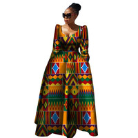 African Clothing Bazin Riche Robe African Dresses Traditional Print Women Plus Size Pure Cotton Long Dress WY2849