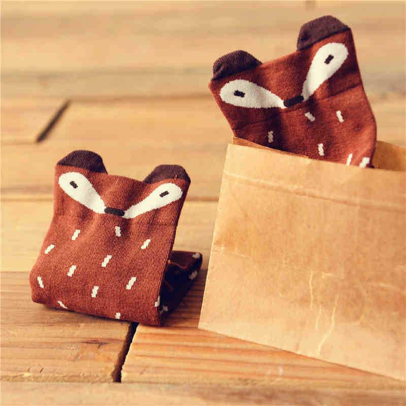 Мультфильм лиса носки новинка весной японский Caramell творческий милый сексуальный женские носки шоколад серый коричневый Calcetines