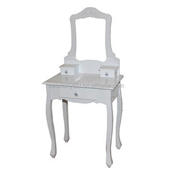 Superieur European Style Solid Wood Makeup Table Set With Stool Bedroom Dresser  Simple Modern Ivory White Cosmetic