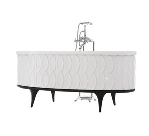 Free Standing Solid Wood Skirt Oval Bathtub