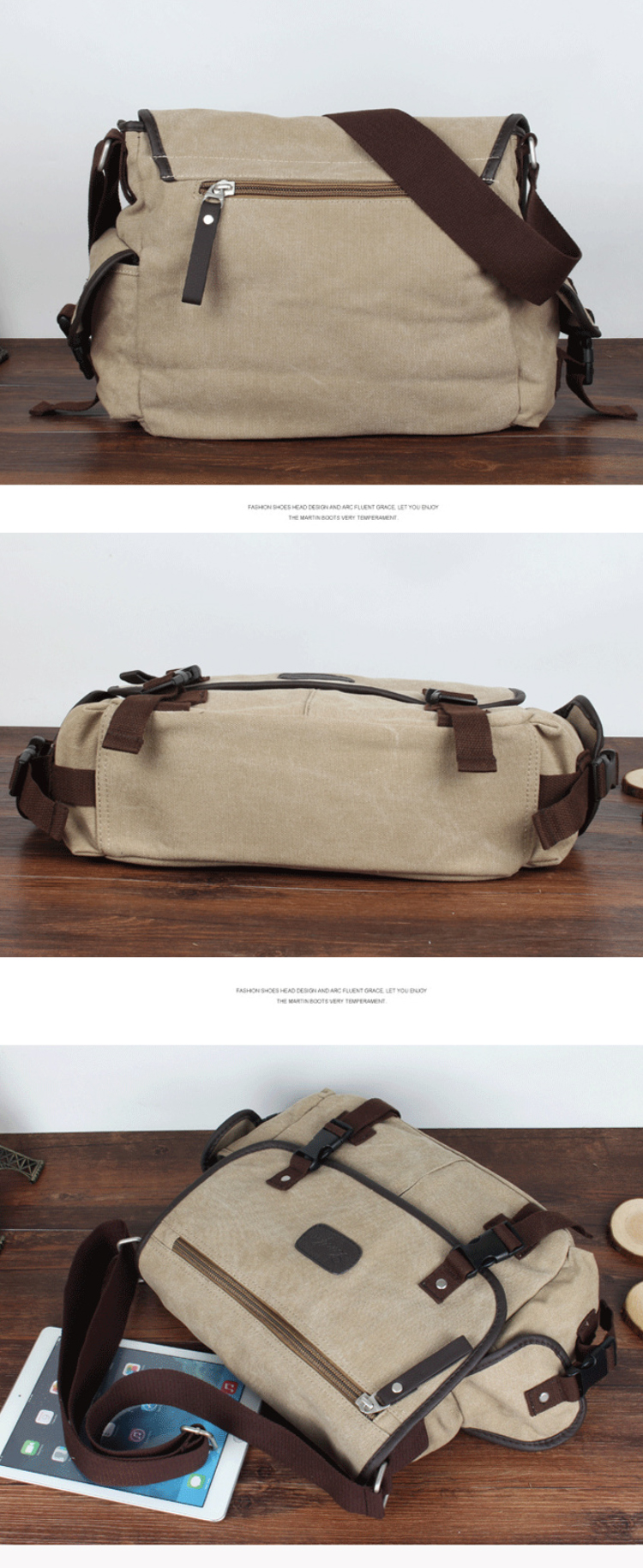 Osgoodway Custom Vintage Style Blank Canvas Messenger Bags Men Cross Body Bag
