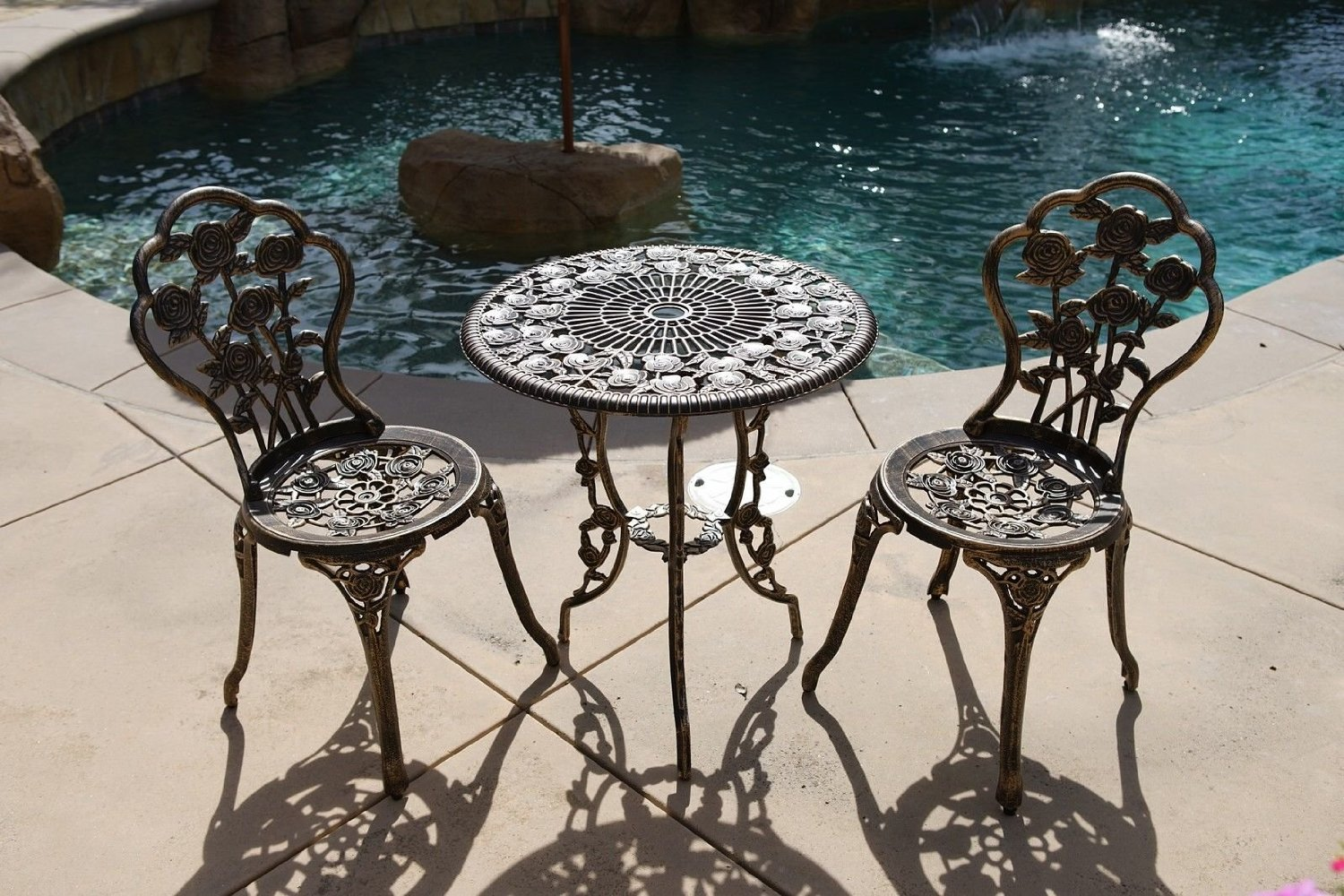 BISTRO SET OUTDOOR PATIO FURNITURE 3 PIECE ROSE PATTERN BROWN ANTIQUE BRONZE FINISH CAST IRON & ALUMINUM