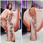 plus size islamic clothing dubai kaftan muslim kaftan abaya burqa fashion design Slim v-neck digital print kaftan crepe royal