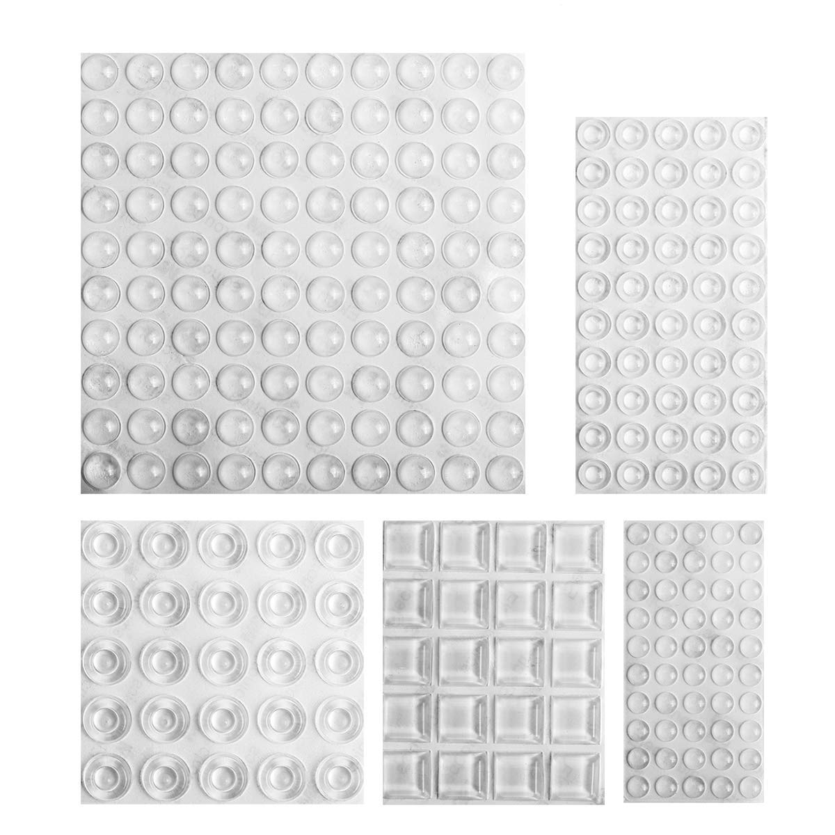 Clear Rubber Feet Bumpers Pads - 245 Pieces Self Adhesive Transparent Stick Bumper Pads Noise Dampening Buffer Bumpers, 5 Shapes for Cabinet Doors, Drawers, Glass Tops, Picture Frames, Cutting Boards