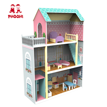 New arrival children pretend play 3 layers large dollhouse wooden big doll house for kids
