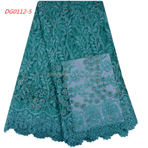 French Net Lace Bridal Corded Lace Embroidered Flower Trim Applique 1061