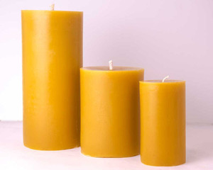 cheap price natural smell pillar shaped 100% pure beeswax candle