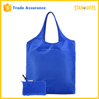 Custom Large Foldable Supermarket Nylon Shopping Tote Bag With Built-In Pouch