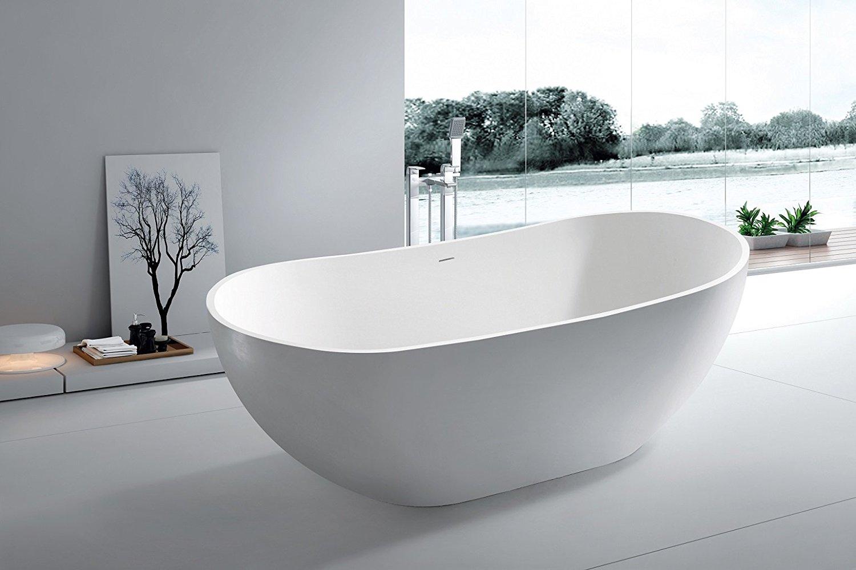 """Modern Bathtub - Soaking Bathtub - Freestanding Bathtub - Solid Surface Bathtub - Cast Stone Bathtub - Aalish 64"""""""