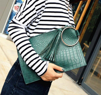 Street style women zipper pouch crocodile embossed cow leather envelope clutch with tassels for ladies