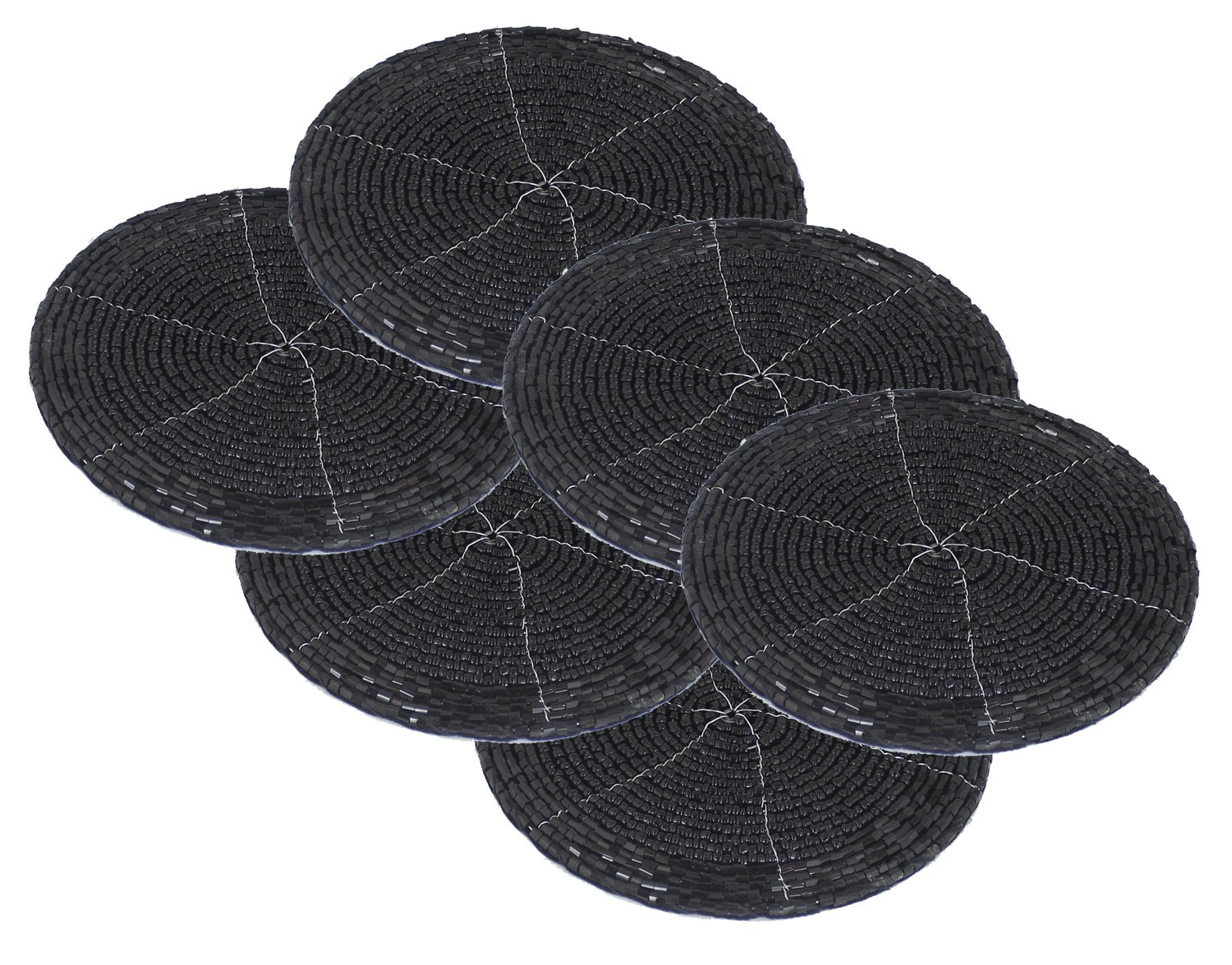 Set of 6 - Handmade Glass Beaded Coaster Dining Set Black - Coaster for Drinks - Dia 4 Inches