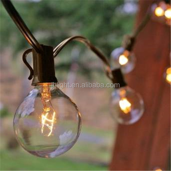 Globe String Lights 2'' E12 Plastic Bulbs 50ft Brown Wire C7 Strand Indoor/Outdoor End to End Connectable Incandescent