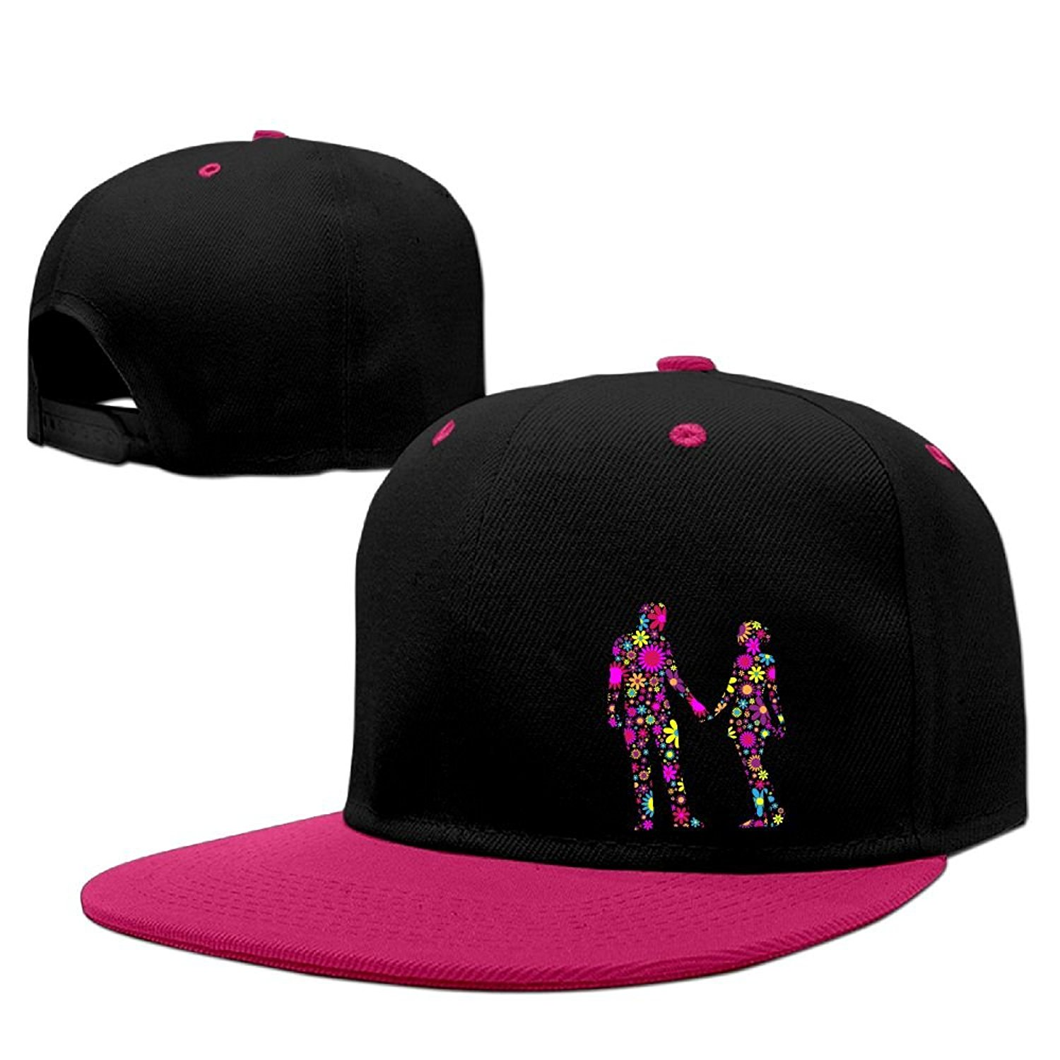 f3c7be1a472 Get Quotations · WANGZII Floral Couple Silhouette Street Dance Snapback  Adjustable Hip-Hop Hats Digital Printing Baseball Caps