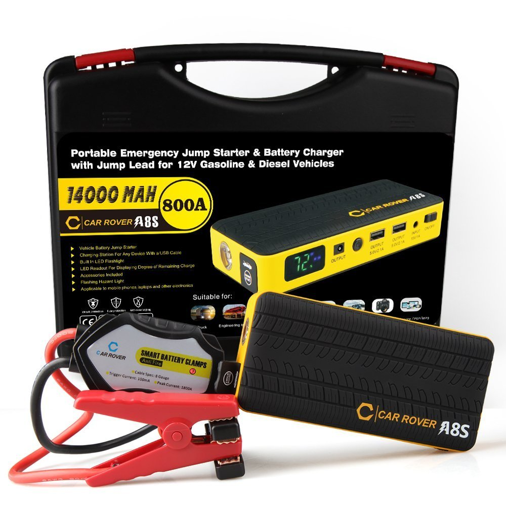 12V LCD 4 USB Portable Power Pack Auto Battery Booster Phone Charger with LED Flashlight Jump Starter Up to 6.0L Gas//3.0L Diesel Engine 600A Peak 69800mAh Portable Car Jump Starter Orange