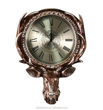 designer wall clocks deer head antique silver/gold